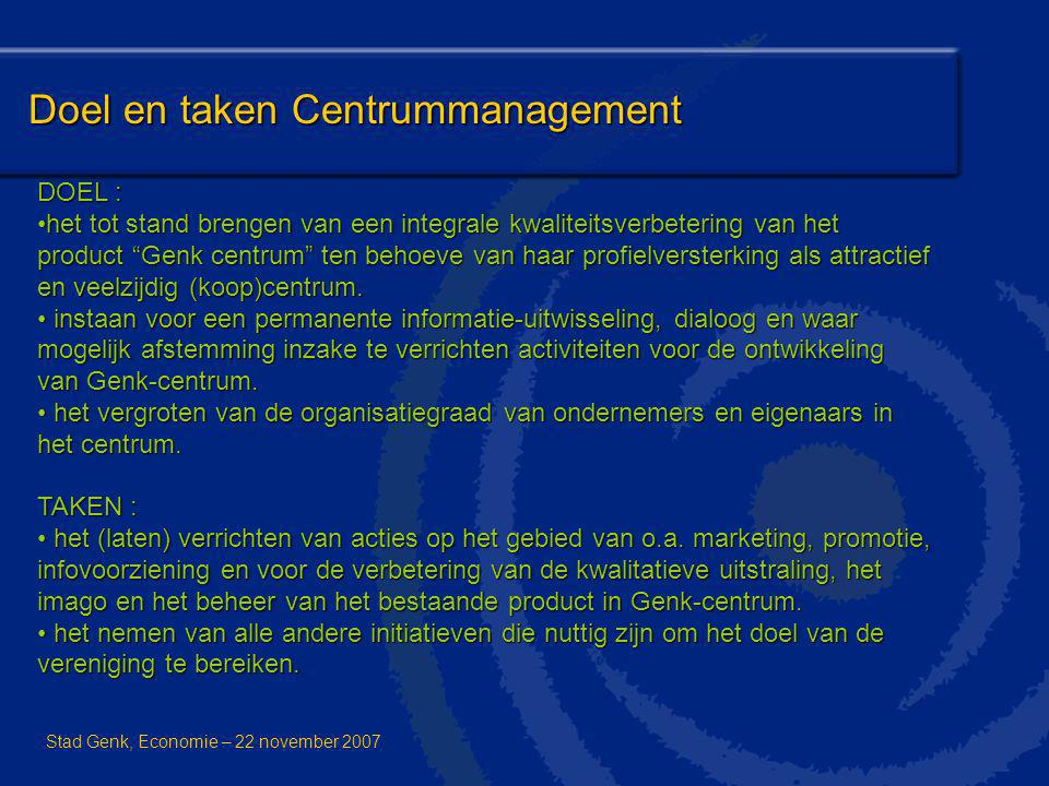 Doel en taken Centrummanagement