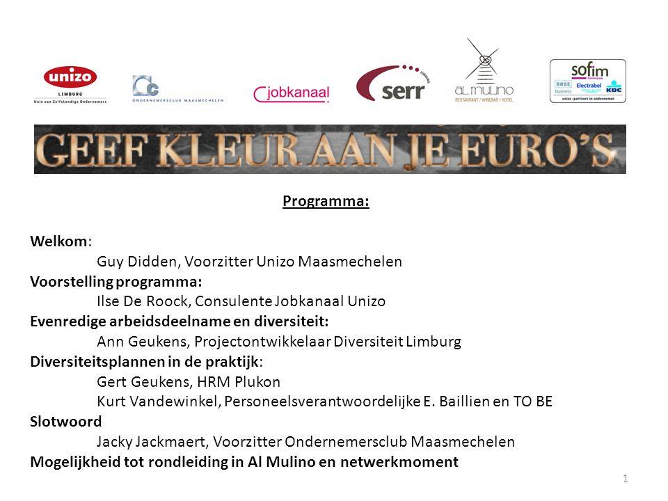 Programma: Welkom: Guy Didden, Voorzitter Unizo Maasmechelen. Voorstelling programma: Ilse De Roock, Consulente Jobkanaal Unizo.