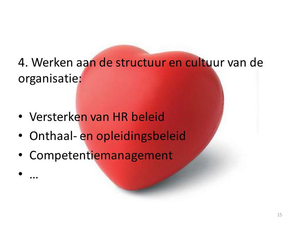 4. Werken aan de structuur en cultuur van de organisatie:
