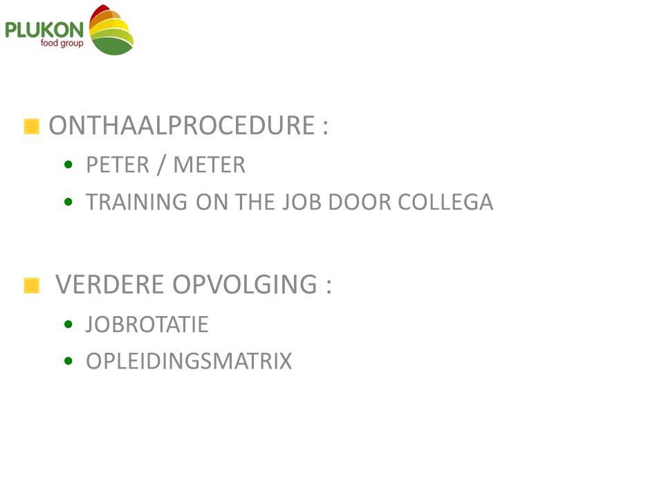 ONTHAALPROCEDURE : VERDERE OPVOLGING : PETER / METER