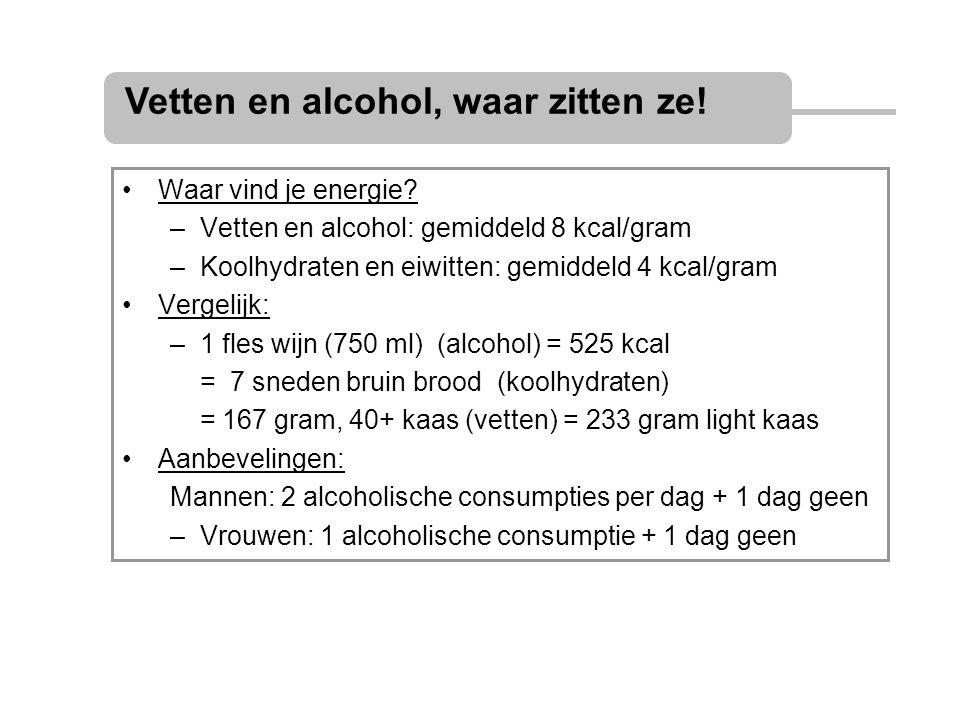 Vetten en alcohol, waar zitten ze!