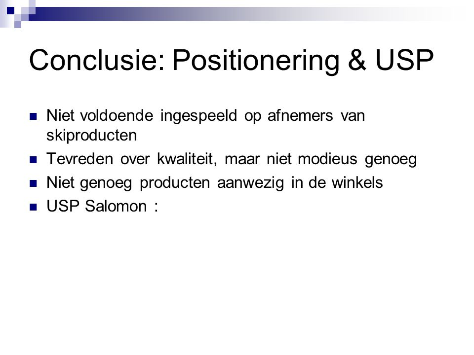 Conclusie: Positionering & USP