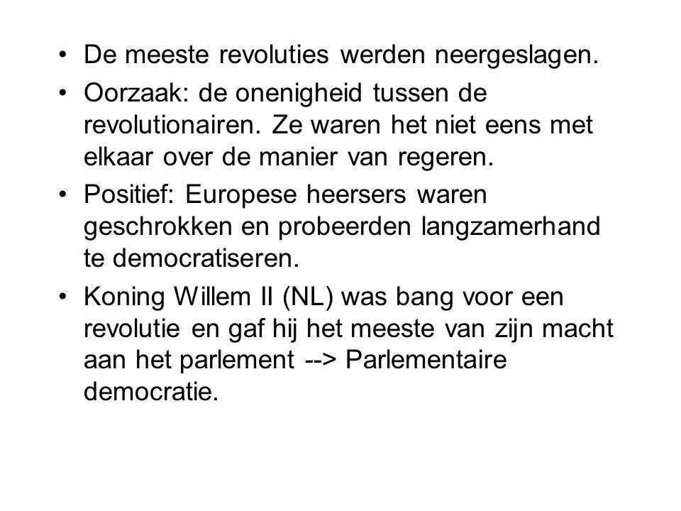 De meeste revoluties werden neergeslagen.