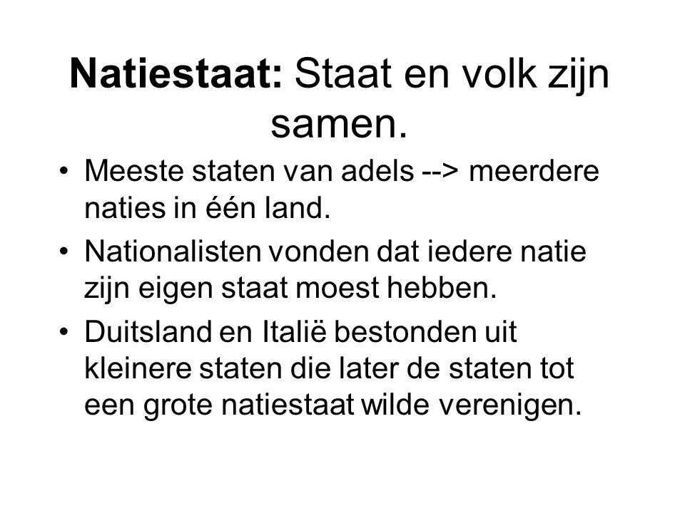 Natiestaat: Staat en volk zijn samen.