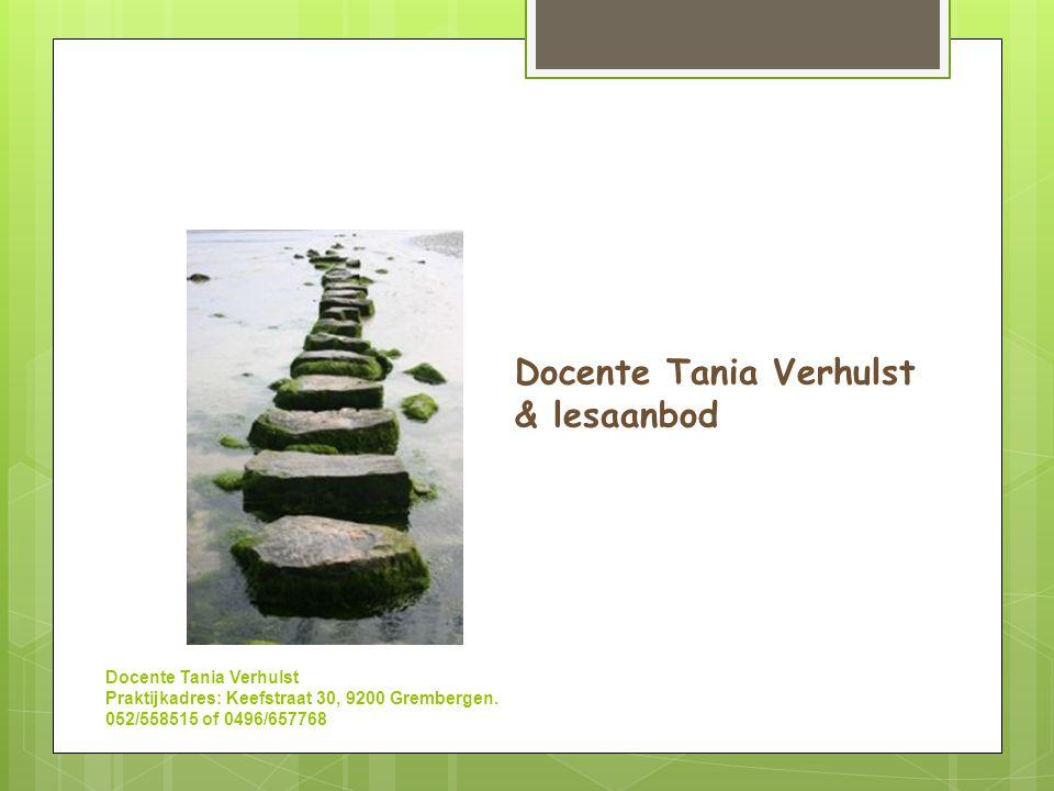 Docente Tania Verhulst & lesaanbod
