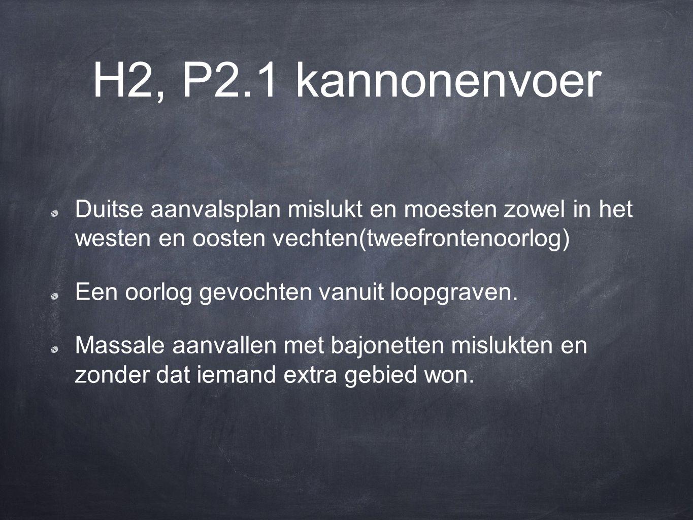 H2, P2.1 kannonenvoer Duitse aanvalsplan mislukt en moesten zowel in het westen en oosten vechten(tweefrontenoorlog)