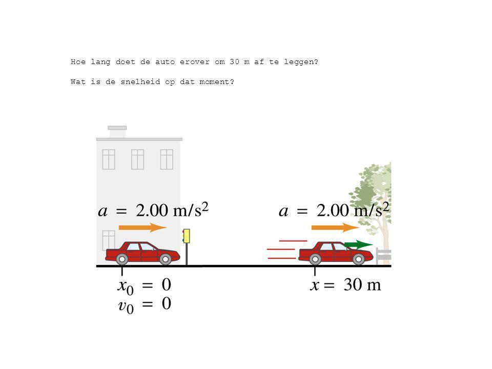 Hoe lang doet de auto erover om 30 m af te leggen