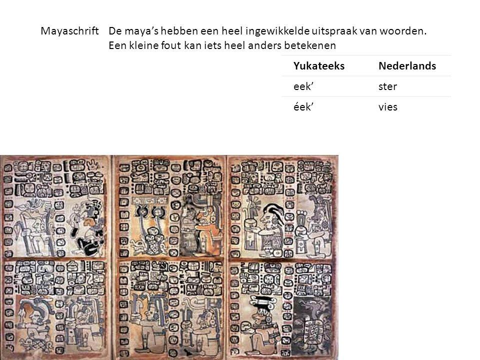 Mayaschrift De maya's hebben een heel ingewikkelde uitspraak van woorden. Een kleine fout kan iets heel anders betekenen.