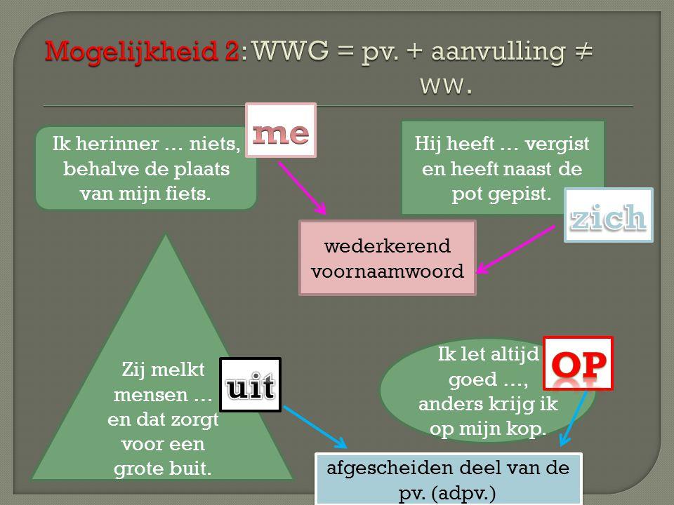 Mogelijkheid 2: WWG = pv. + aanvulling ≠ ww.