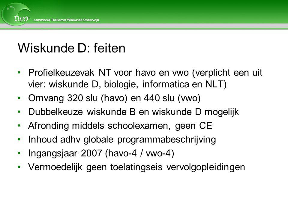 Wiskunde D: feiten Profielkeuzevak NT voor havo en vwo (verplicht een uit vier: wiskunde D, biologie, informatica en NLT)
