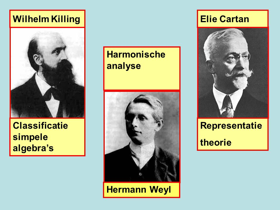 Wilhelm Killing Elie Cartan. Harmonische analyse. Classificatie simpele algebra's. Representatie.