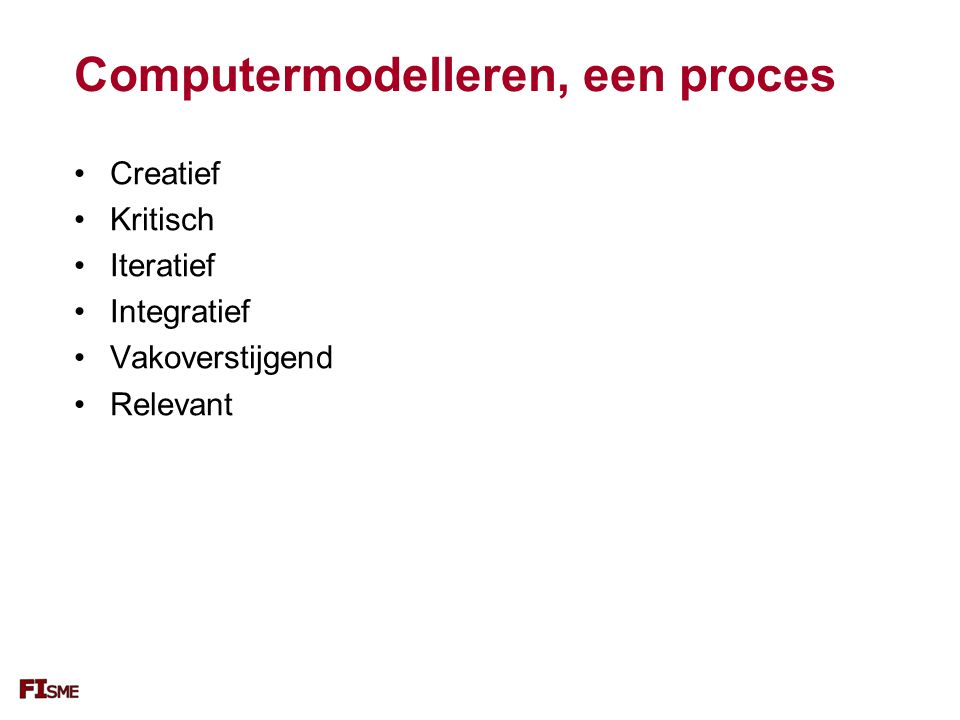 Computermodelleren, een proces