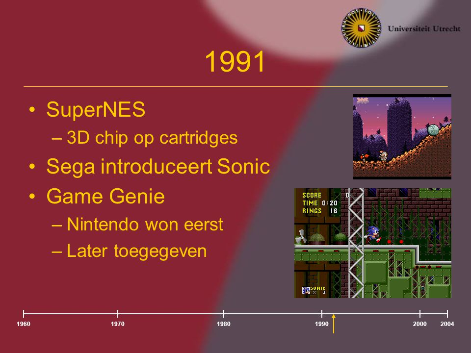 1991 SuperNES Sega introduceert Sonic Game Genie 3D chip op cartridges