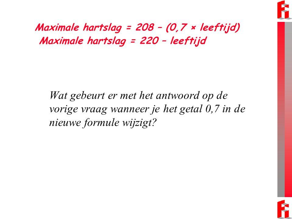 Maximale hartslag = 208 – (0,7 × leeftijd) Maximale hartslag = 220 – leeftijd