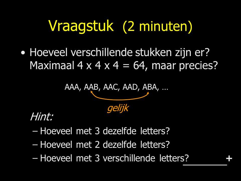 Vraagstuk (2 minuten) Hoeveel verschillende stukken zijn er Maximaal 4 x 4 x 4 = 64, maar precies Hint: