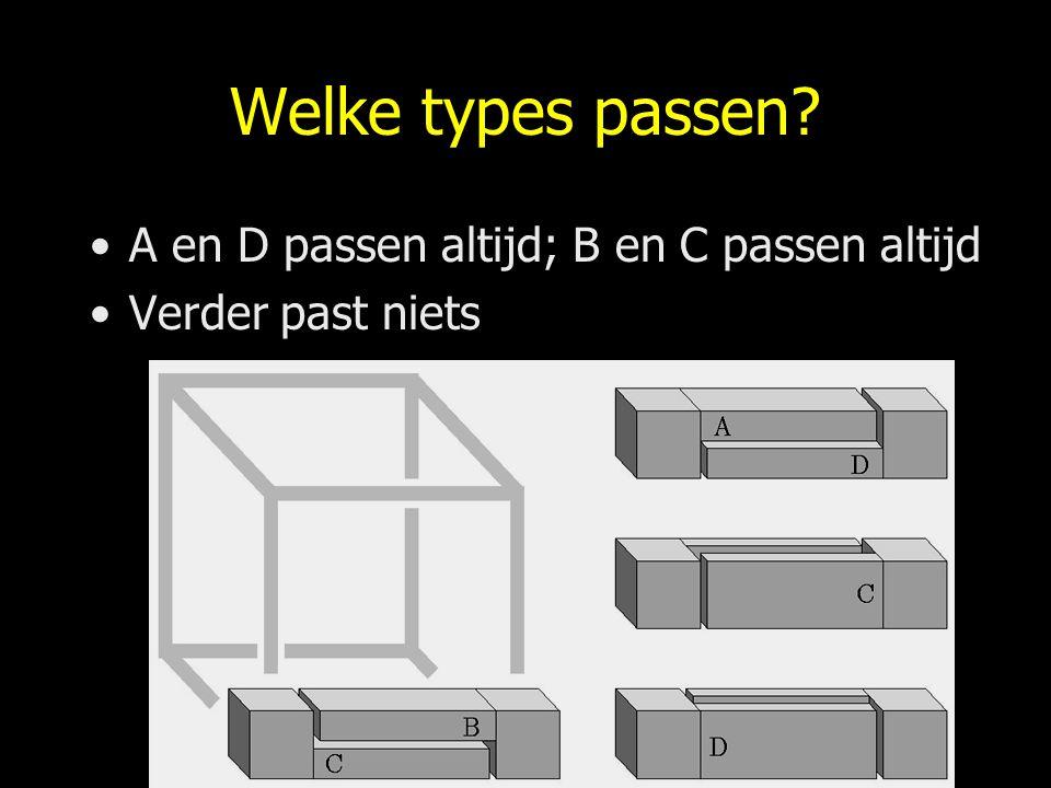 Welke types passen A en D passen altijd; B en C passen altijd