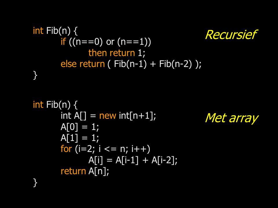 Recursief Met array int Fib(n) { if ((n==0) or (n==1)) then return 1;