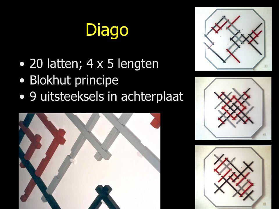 Diago 20 latten; 4 x 5 lengten Blokhut principe