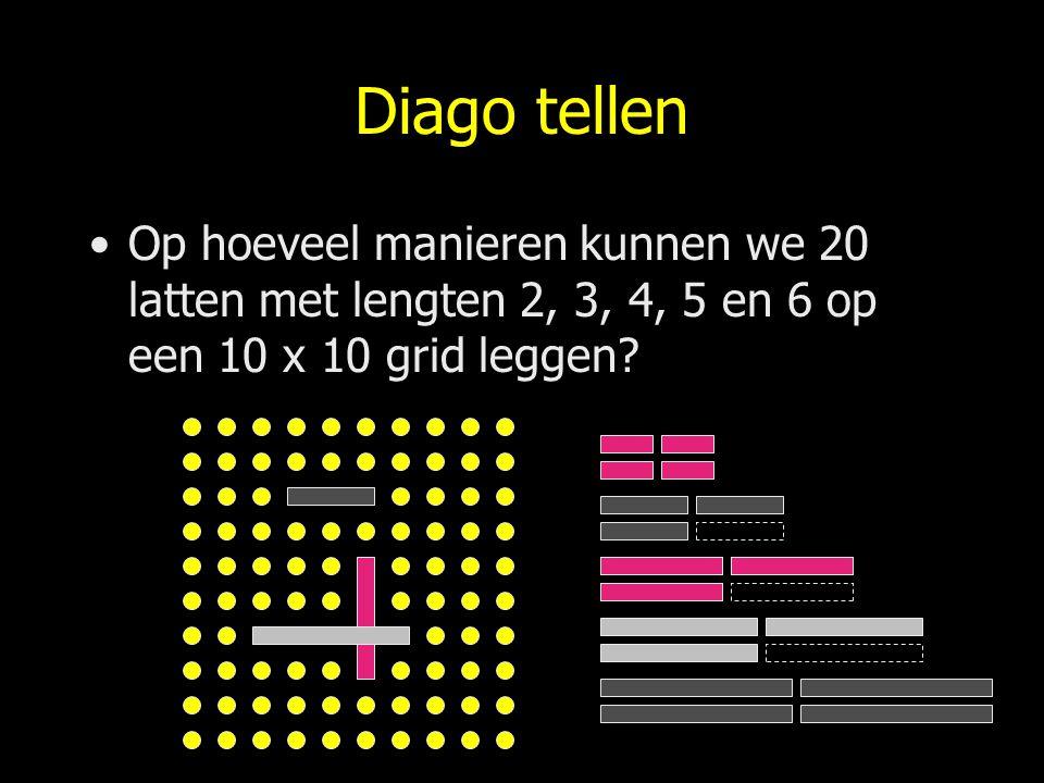 Diago tellen Op hoeveel manieren kunnen we 20 latten met lengten 2, 3, 4, 5 en 6 op een 10 x 10 grid leggen