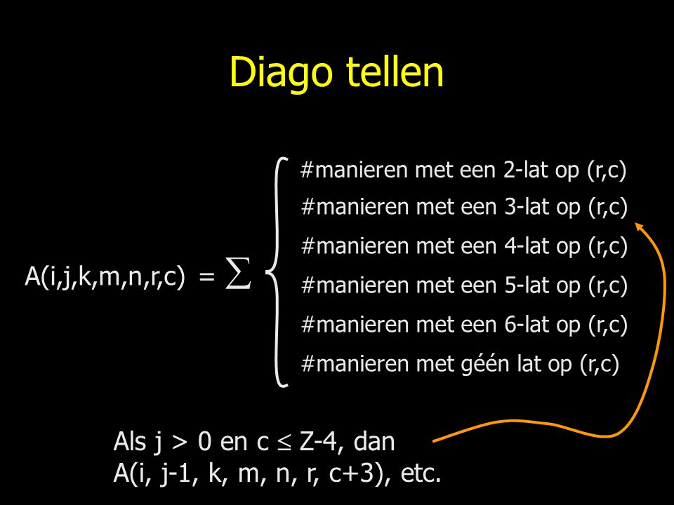 Diago tellen A(i,j,k,m,n,r,c) = 