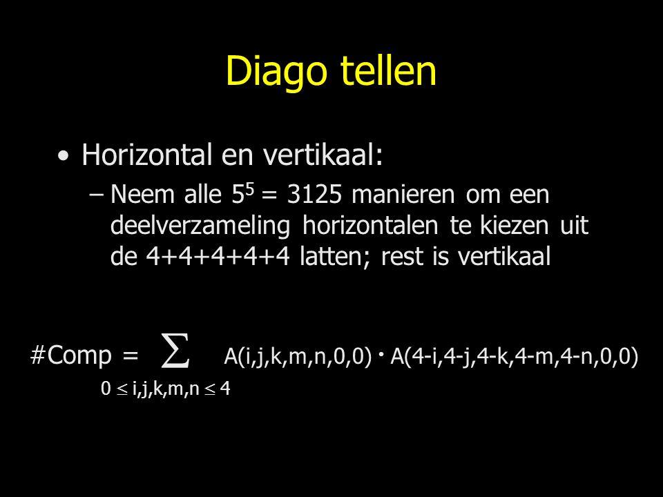 Diago tellen Horizontal en vertikaal: