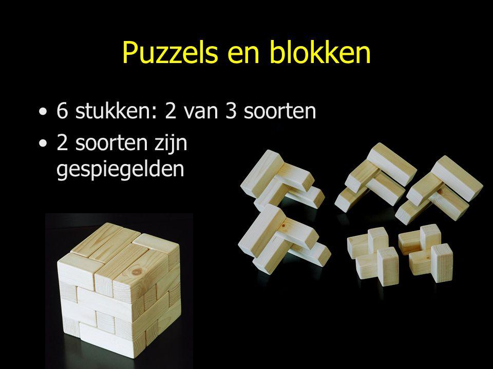 Puzzels en blokken 6 stukken: 2 van 3 soorten