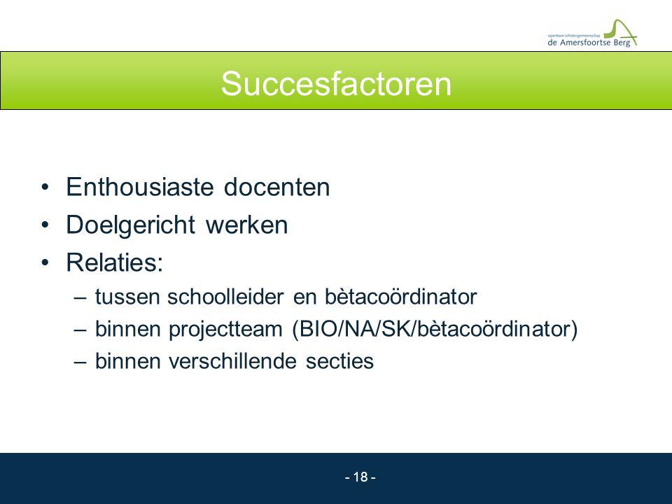 Succesfactoren Enthousiaste docenten Doelgericht werken Relaties: