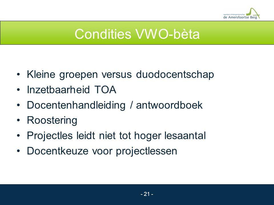Condities VWO-bèta Kleine groepen versus duodocentschap