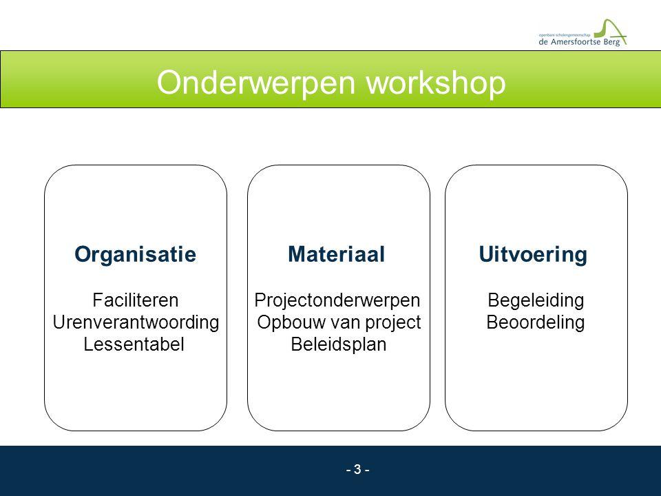 Onderwerpen workshop Organisatie Materiaal Uitvoering Faciliteren