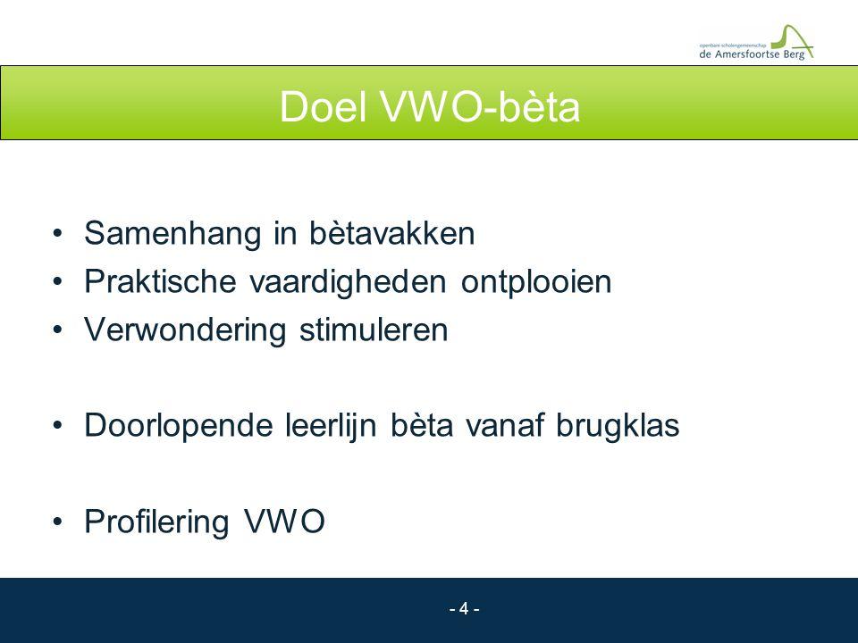 Doel VWO-bèta Samenhang in bètavakken