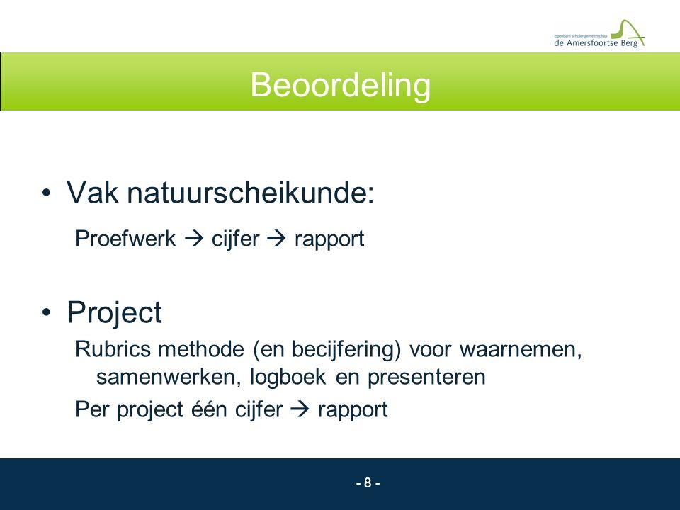 Beoordeling Vak natuurscheikunde: Proefwerk  cijfer  rapport Project