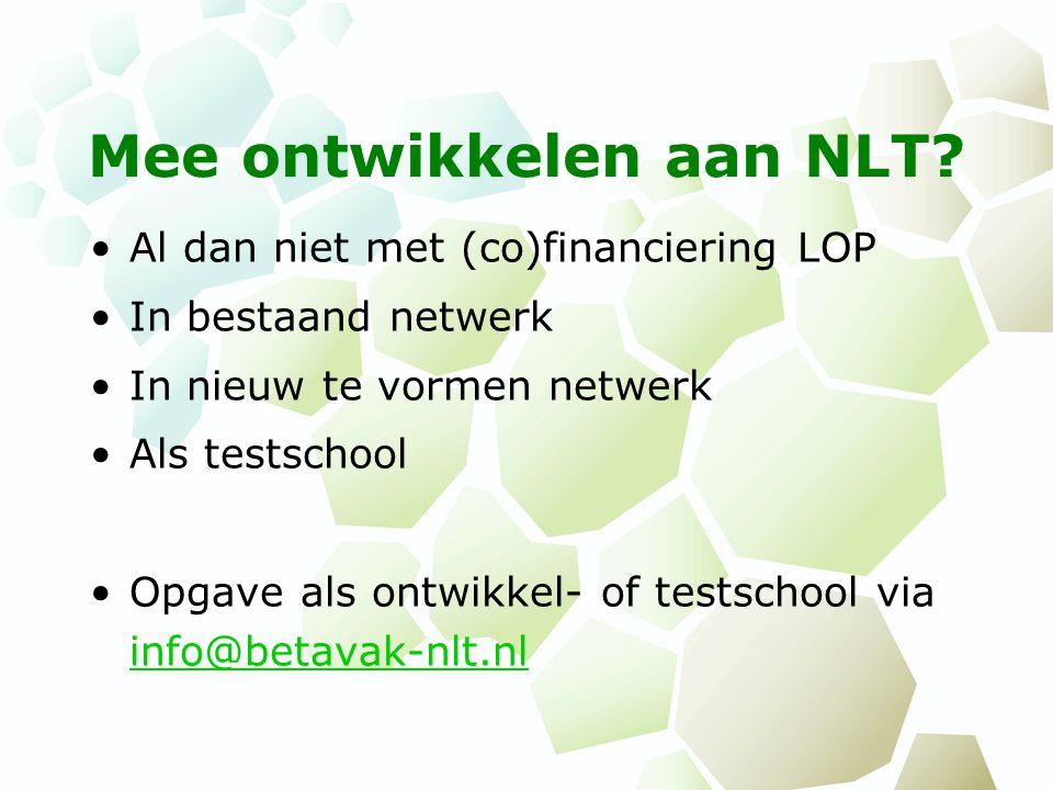 Mee ontwikkelen aan NLT