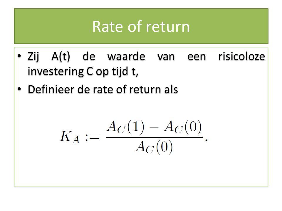 Rate of return Zij A(t) de waarde van een risicoloze investering C op tijd t, Definieer de rate of return als.