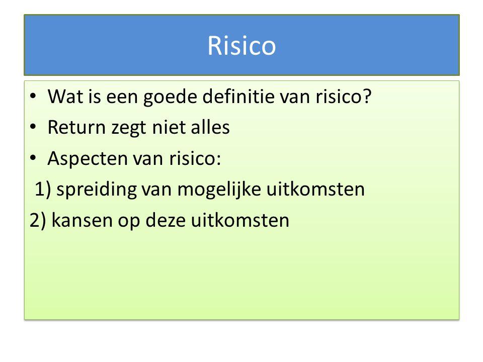 Risico Wat is een goede definitie van risico Return zegt niet alles