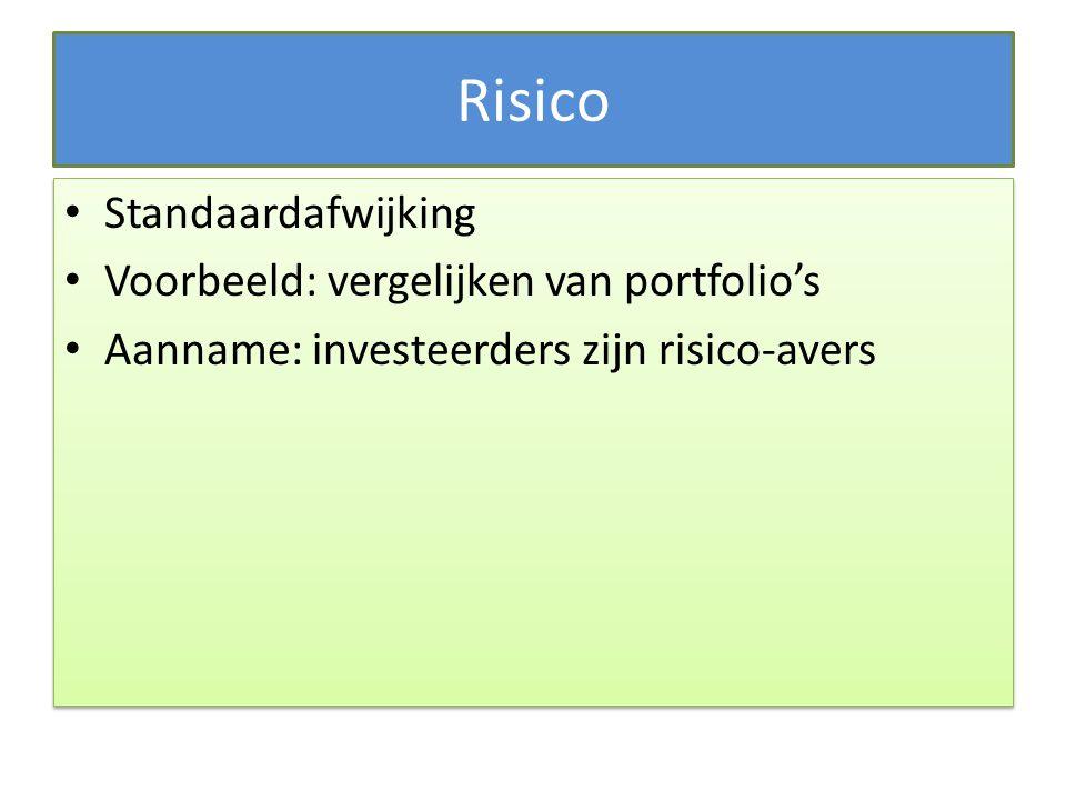 Risico Standaardafwijking Voorbeeld: vergelijken van portfolio's