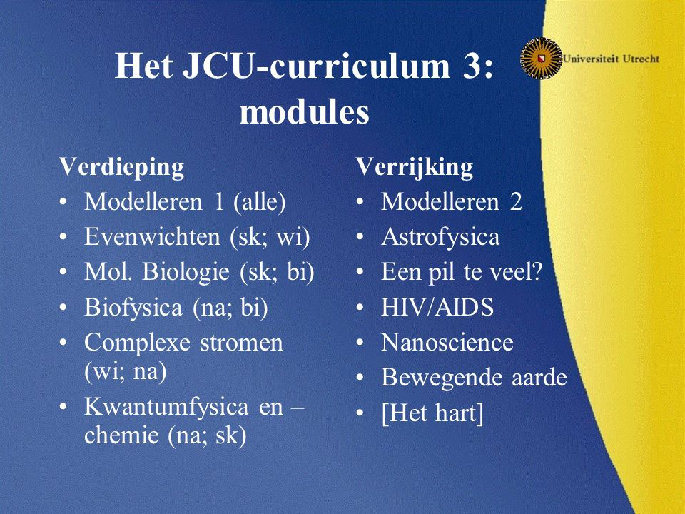 Het JCU-curriculum 3: modules