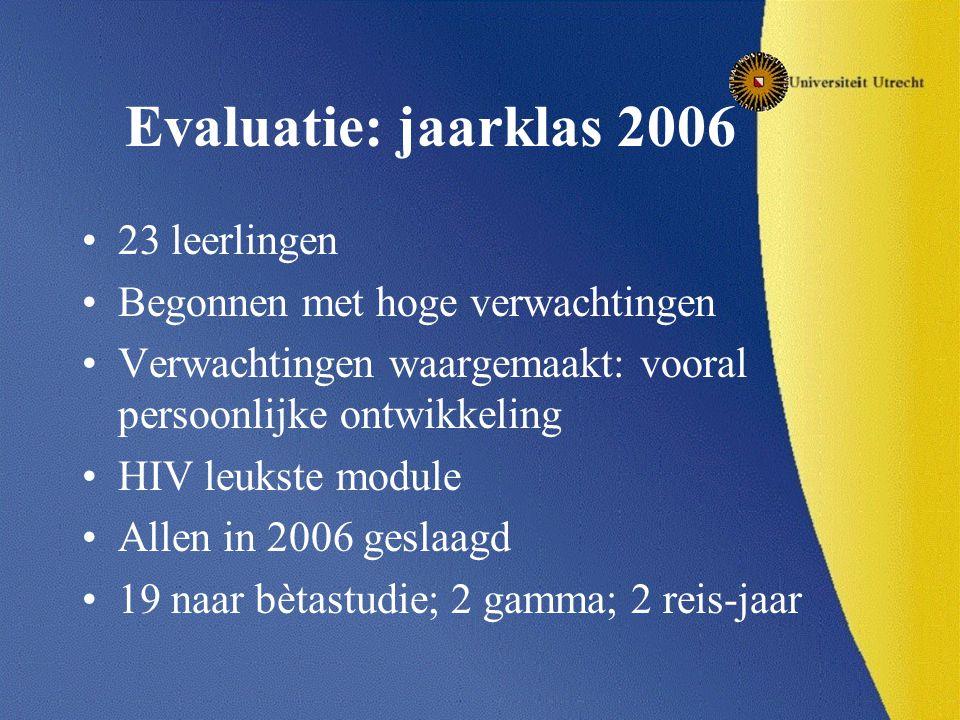 Evaluatie: jaarklas 2006 23 leerlingen Begonnen met hoge verwachtingen