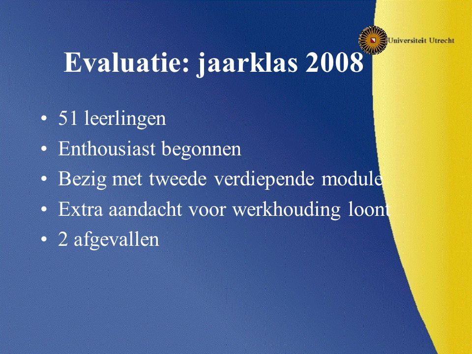 Evaluatie: jaarklas 2008 51 leerlingen Enthousiast begonnen