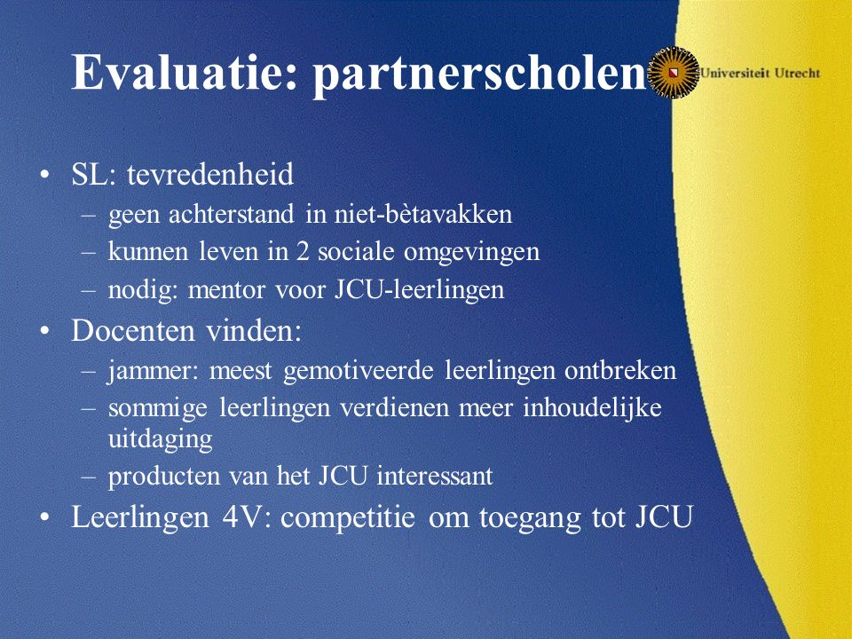 Evaluatie: partnerscholen