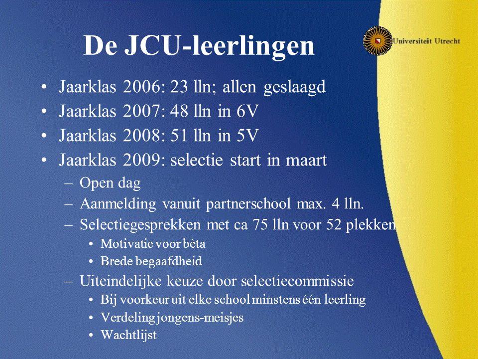 De JCU-leerlingen Jaarklas 2006: 23 lln; allen geslaagd