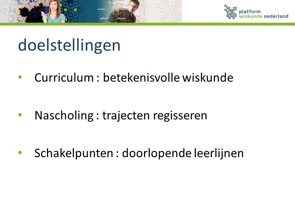 doelstellingen Curriculum : betekenisvolle wiskunde
