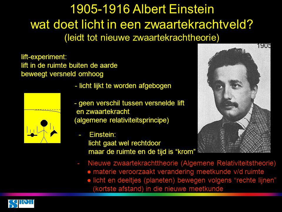 1905-1916 Albert Einstein wat doet licht in een zwaartekrachtveld