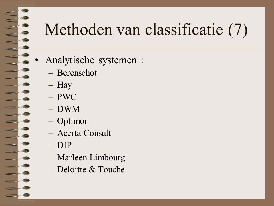 Methoden van classificatie (7)