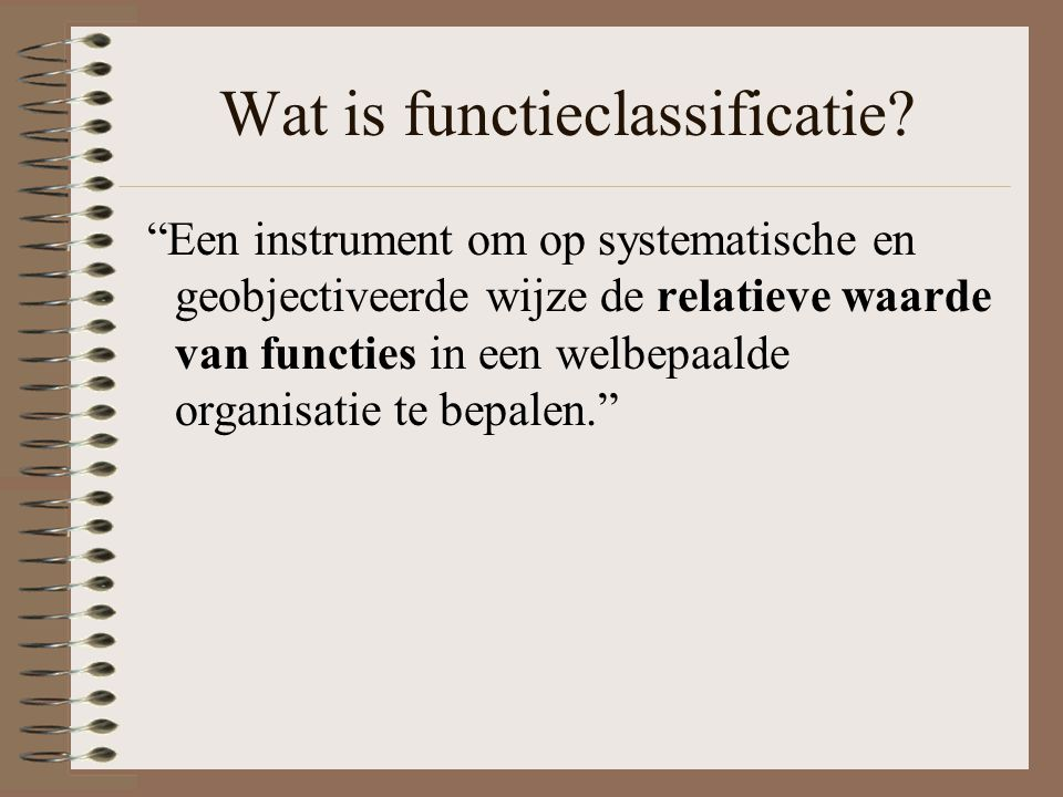 Wat is functieclassificatie