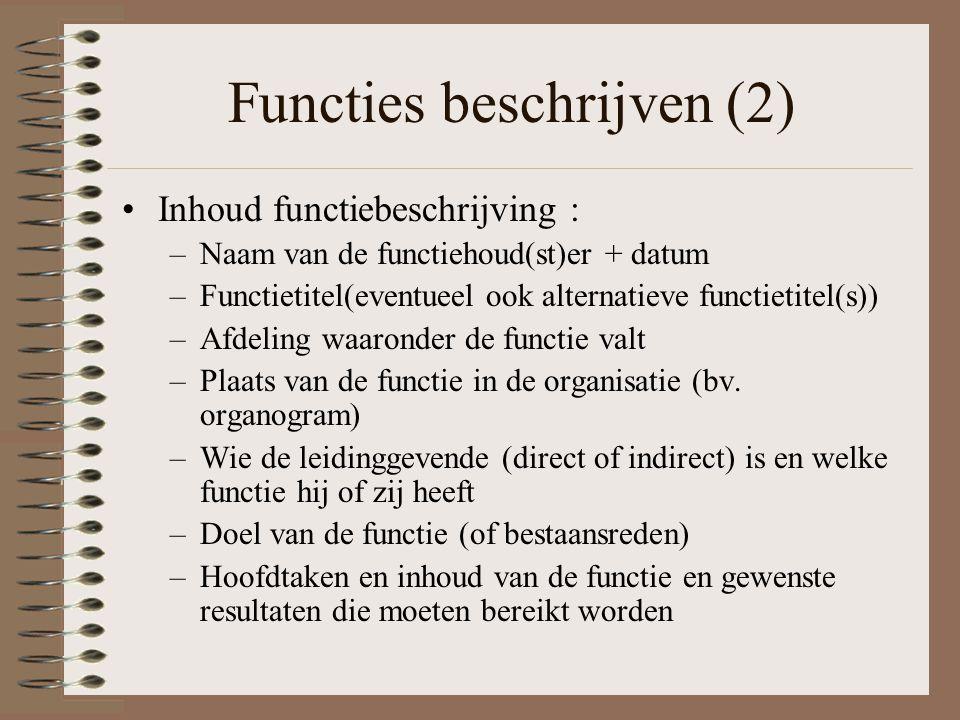Functies beschrijven (2)