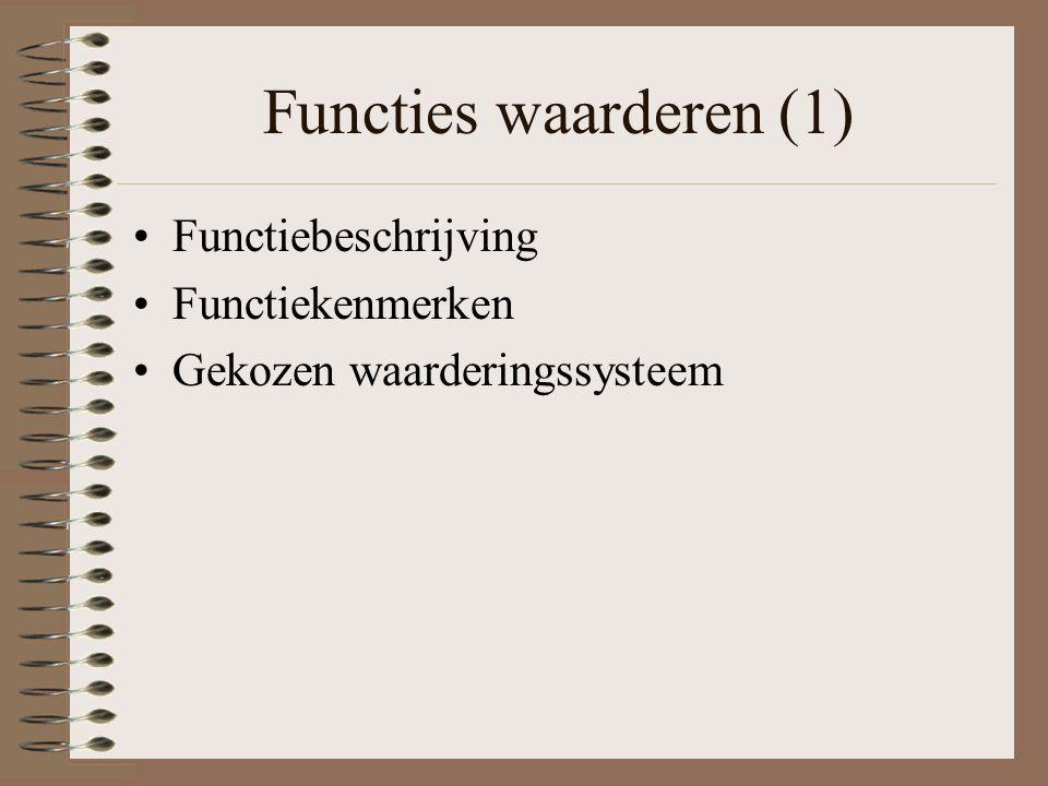Functies waarderen (1) Functiebeschrijving Functiekenmerken
