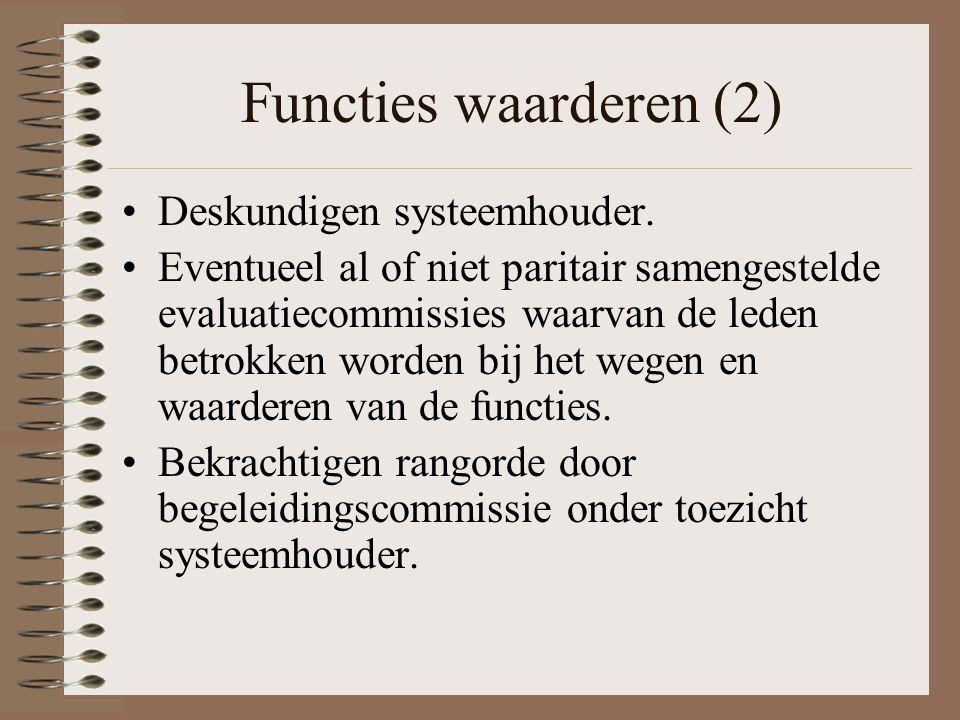 Functies waarderen (2) Deskundigen systeemhouder.