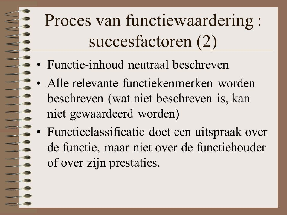 Proces van functiewaardering : succesfactoren (2)