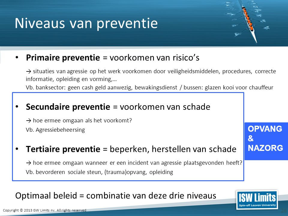 Niveaus van preventie Primaire preventie = voorkomen van risico's