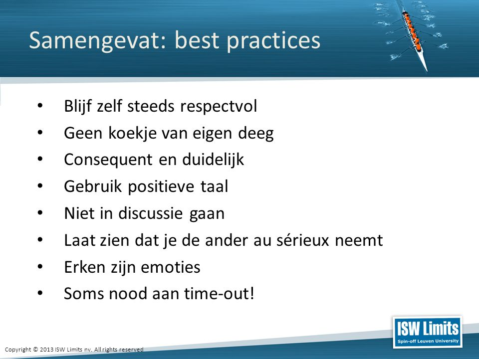 Samengevat: best practices